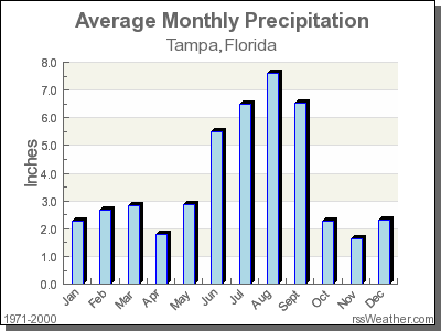 average rainfall for tampa florida
