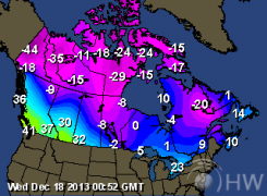Temperature Map Canada Current Canada Weather Forecasts